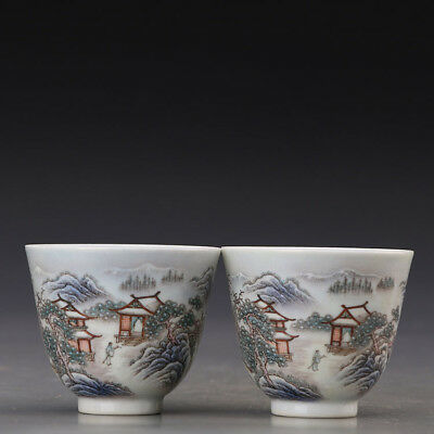China old antique Porcelain A Pair Qing Qianlong famille rose Snow scene Cup