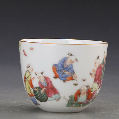 China old antique Porcelain Qing Guan Kiln famille rose children Cup