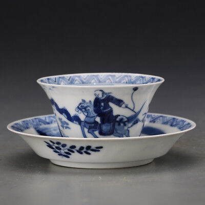 China old antique Porcelain Kangxi Blue & white hunting Cup set tea bowl