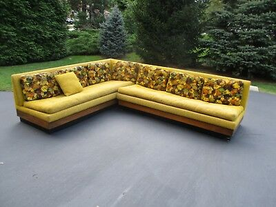 MCM 60's L-Shaped Tweed Upholstered Sofa's in the Beautiful Colors of Autumn.