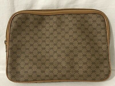 Vintage Gucci Make Up Bag Tan Small Brown GG Logo Monogram Italy