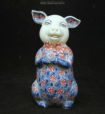 22cm Collect China Old Blue and White Porcelain Handmade Pig Sculpture HCNG