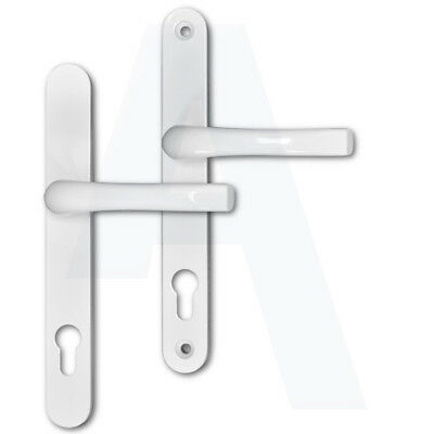 Asec/Roto UPVC Replacement Lever Door Handles 92mm Centres 230mm Backplate White