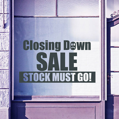 Closing Down Sale Sign Shop Retail Window Display Vinyl Wall Stickers Decal A306