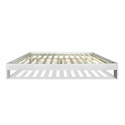 Wooden Bed Frame Base White Double Size Solid Pine Wood With Underbed Storage
