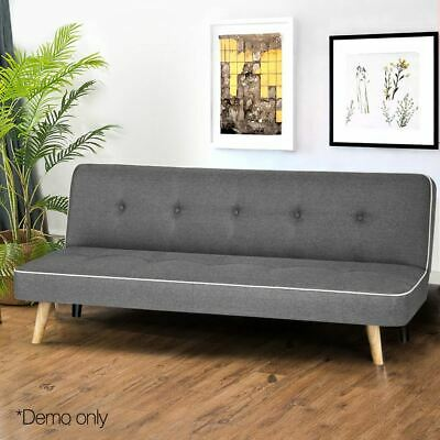 Remarkable Adjustable Fabric Sofa Bed 3 Seater Lounge Seat Couch Wood Frame Scandi Grey Beutiful Home Inspiration Cosmmahrainfo