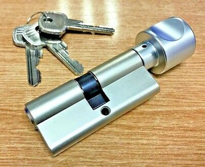 CES 815 Profile Knob Cylinder - 35/35 Euro Thumb turn And Key Lock Satin Nickel