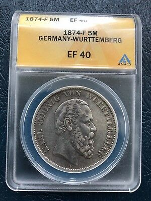 1874-F Germany-Wurttemberg 5 Mark ANACS EF40 German Empire Silver Coin Crown 5M