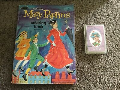 RARE Mary Poppins Vintage Coloring Book Whitman 1966 Plus Card Game Deck