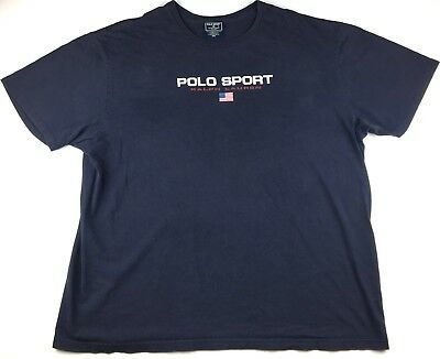 Vintage Polo Sport Sportsman Spell Out Graphic Flag Men's T-Shirt Size XXL