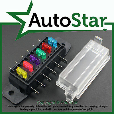 6 Way Mini Blade Fuse Box Holder ATM, APM Circuit  Caravan Campervan Boat 12v 12