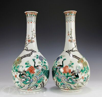 Large Pair Antique Chinese Famille Verte Porcelain Bottle Vases W Peacocks