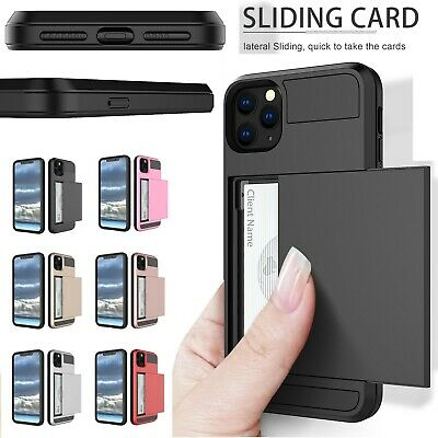iPhone Xs Max XR 7 8 Plus Case Slide Armor Wallet Card Slots Holder Cover Apple