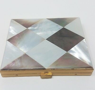 Vintage Mother Of Pearl Triangle Design Compact Lot #267
