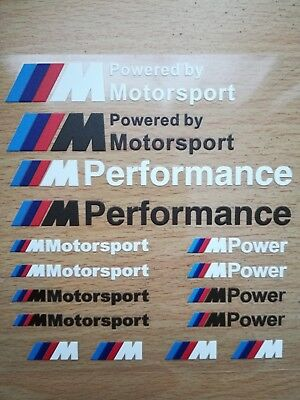 16 Pcs Car-Styling M Performance Power Car Stickers And Decals Kit For BMW