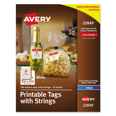Avery Printable Tags with Strings 1 1/2 x 1 1/2 White Square 200 per Pack 22849