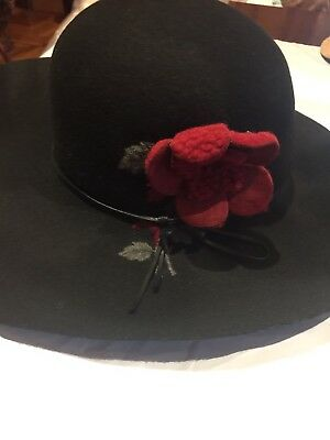 Vintage Antique Style Black Wool Felt Red Art Deco Rosettes Wide Brim Hat