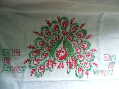 Antique peacock embroidered pillowcases pair cotton