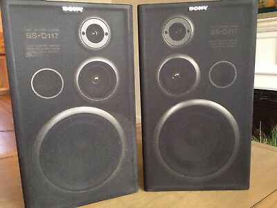 Vintage Sony SS-D117 3-Way Speakers 80 watts Pair- Perfectly working Great sound