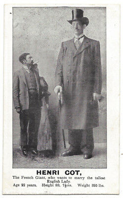 HENRI COT French Giant Wants To Marry Tallest English Lady, Old Postcard