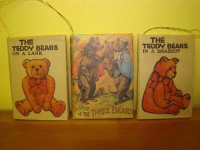 3 Teddy Bear Storybook Christmas Ornaments incl. Story of the Three Bears Book