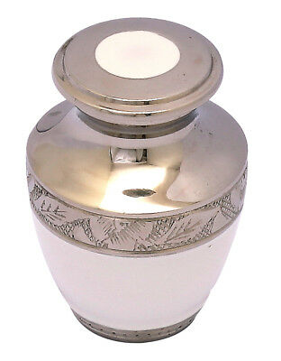 Mini Keepsake Small Cremation Urn for Ashes Funeral Memorial White Token SALE