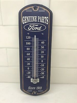 Ford Genuine Parts Metal Thermometer Garage Shop Home Wall Advertising Sign