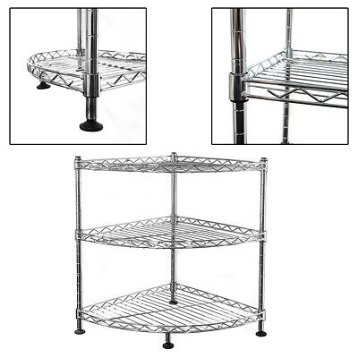 45x35x35cm Real Chrome Corner Wire Rack Metal Steel Kitchen Shelving Racks UKES