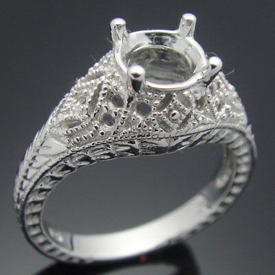 Sterling Silver Plated White Gold Round Cut Prong Setting Retro Vintage Ring 6.5