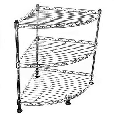45x35x35cm Real Chrome Corner Wire Rack Metal Steel Kitchen Shelving Racks DCUK