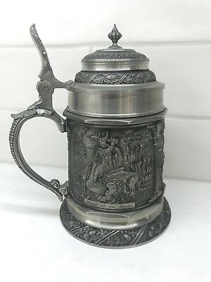 BMF ZINN 97% Pewter German Viking Art 3D Relief Embossed Beer Lidded Stein