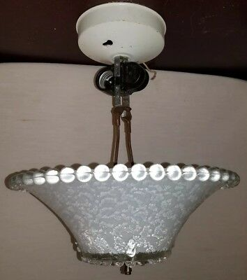 Vintage Antique White Frosted Glass Ceiling Light Fixture  m-e