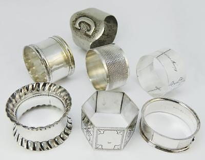 Nice Selection 7 Vintage SILVER PLATE NAPKIN RINGS Various Designs