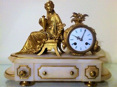Antique French Ormolu and White Stone Figural Mantel Clock.
