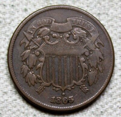 1865 Two Cent Piece Very Fine