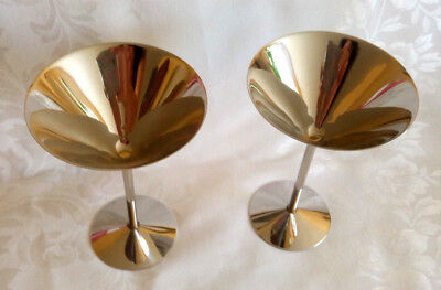 Set of 2 Stainless Steel Martini Glasses for Party Bar NEW