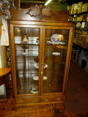 Antique Bookcase Oak 1900 Cabinet 4 glass shelves ornate refinished brass curio
