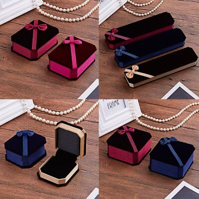 Womens Bowknot Shape Earrings Necklace Ring Velvet Gift Display Jewellery Boxes