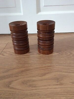 Two Wooden Turned Candlesticks - 12cm