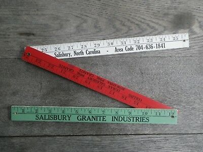 Vintage Advertising Folding Wooden Ruler Yardstick Salisbury Nc Granite Indust