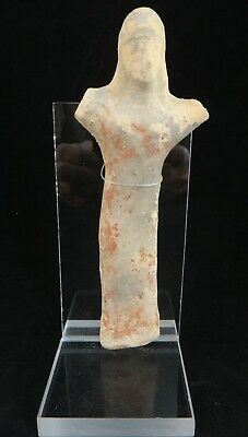"Ancient Cypriot pottery figure,  8"" tall, 1400 - 1100 BCE."
