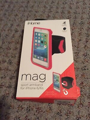 iHome Mag Sport Armband For iPhone 6/6s Hot Pink Black Running Sports Music