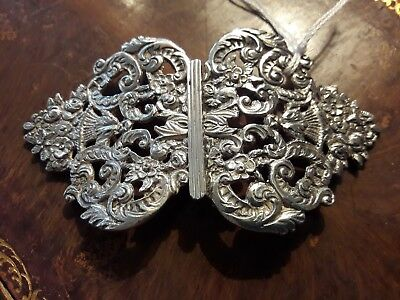 Antique Victorian Heavy Solid Silver Nurses Belt Buckle Robert Pringle/ Chester