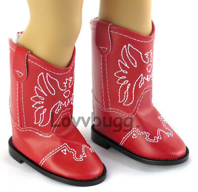"""Red Western Cowboy Cowgirl Boots for 18"""" Doll American Girl Shoes Wow! Lovvbugg!"""