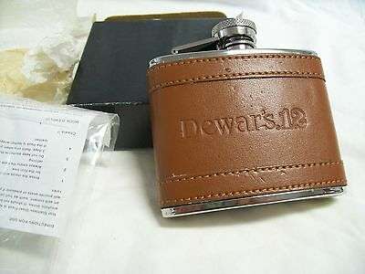 Dewar's 12 Stainless Steel Leather Covered 4 oz. Flask New in Box