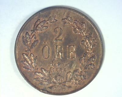 Sweden 1858 Two Ore Km#688 Extremely Fine  ~ 1005860