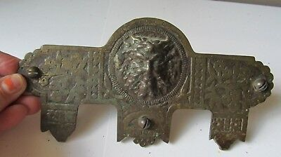 Antique Eastlake DOOR HARDWARE Plate GOTHIC Devil BACCHUS Architectural Salvage