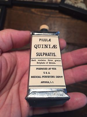 Civil War Quinine Sulphatis Medical Tin Can Bottle Exact Repro Union Confederate
