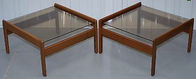 Pair Of Mid Century Modern 1960's Danish Teak Side Tables With Glass Tops Lovely