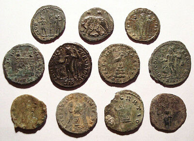 Lot of 11 Æ3-4 Ancient Roman Bronze Coins from III.-IV. Century